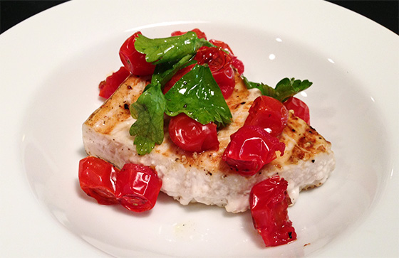 GRILLED HALIBUT WITH CHERRY TOMATOES